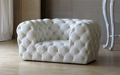 Exceptional Tufted Leather Sofa and Chair by Baxter. White Leather SofasTufted