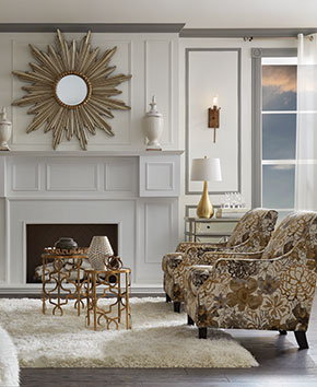 elegant white and gold living room chairs and tables