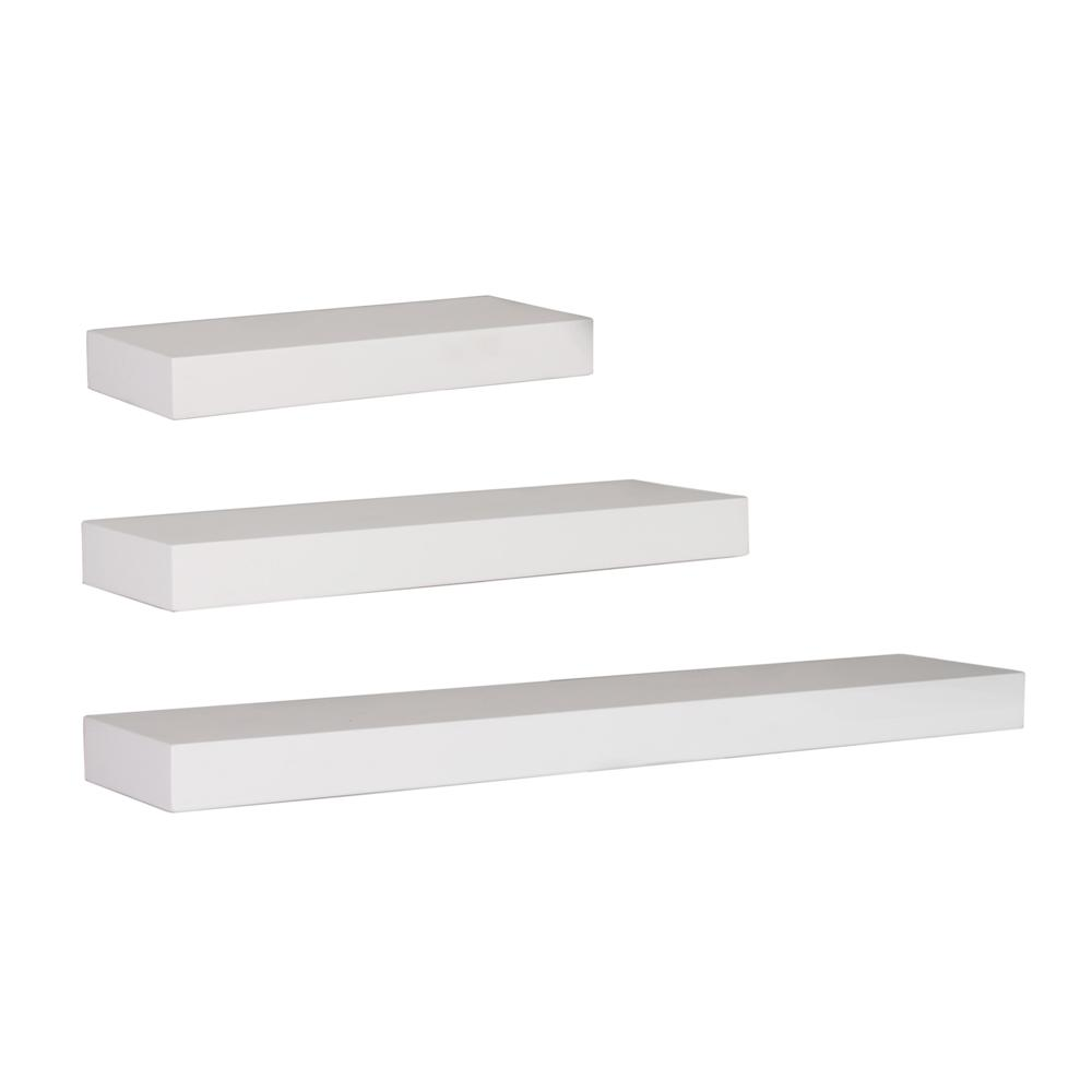 Kiera Grace Maine 12 in. W x 5 in. D, 16 in. W x 5 in. D and 24 in. W x 5  in. D White Wall Shelf (Set of 3)-FN00373-7 - The Home Depot