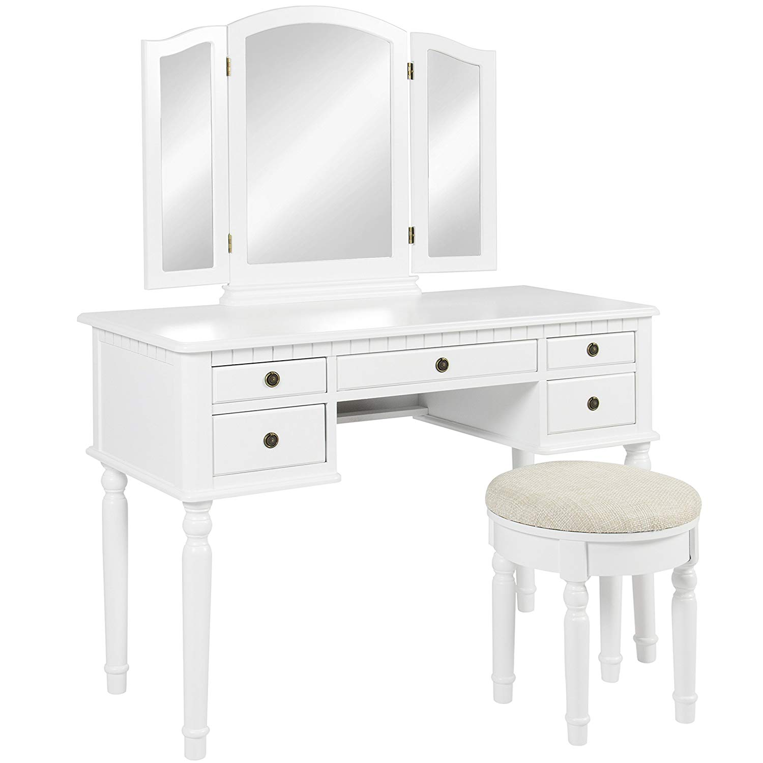 Makeup Cosmetic Beauty Vanity Hair Dressing Table Set w/Tri-Folding  Mirror, Upholstered Stool Seat, 5 Drawer Storage Organizers - White: Home &  Kitchen