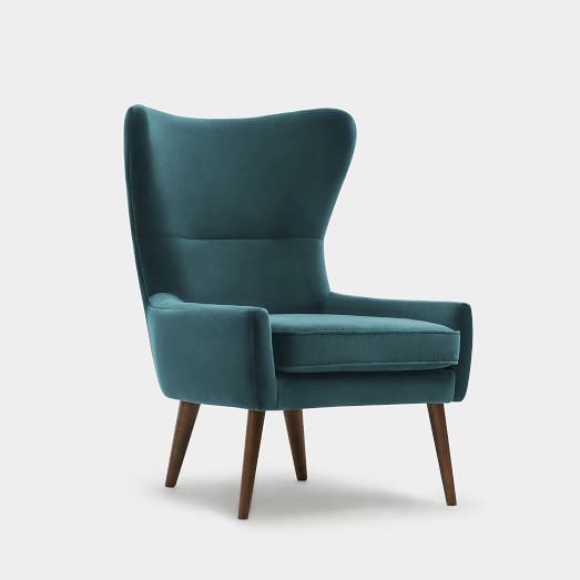 Erik Wing Chair, Velvet, Petrol Dark Oak