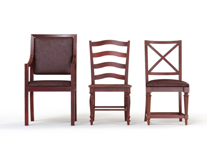 wooden chairs collection 3d model low-poly max obj mtl fbx 1