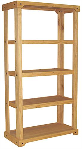 Wood Shelving Unit with 3 Open Pine Shelves