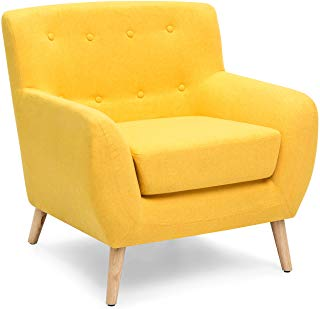 Best Choice Products Mid-Century Modern Linen Upholstered Button Tufted  Accent Chair for Living Room
