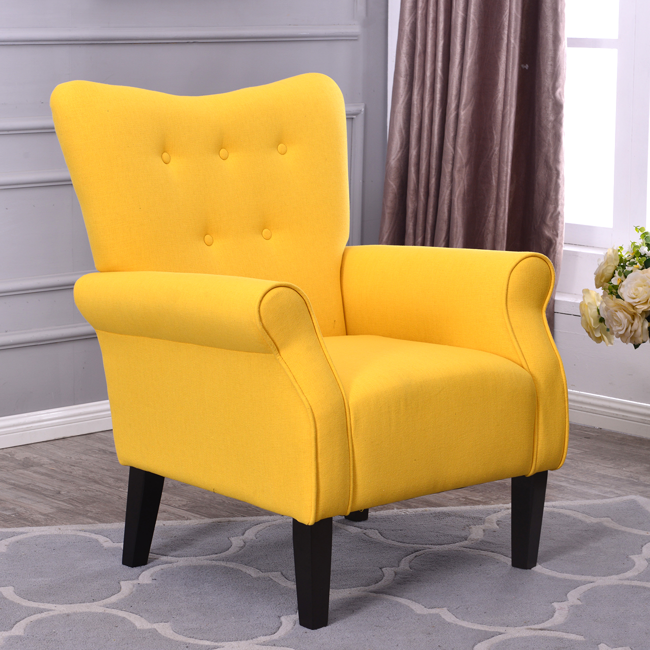 Belleze Modern Accent Chair Roll Arm Linen Living Room Bedroom Wood Leg  (Citrine Yellow) - Traveller Location
