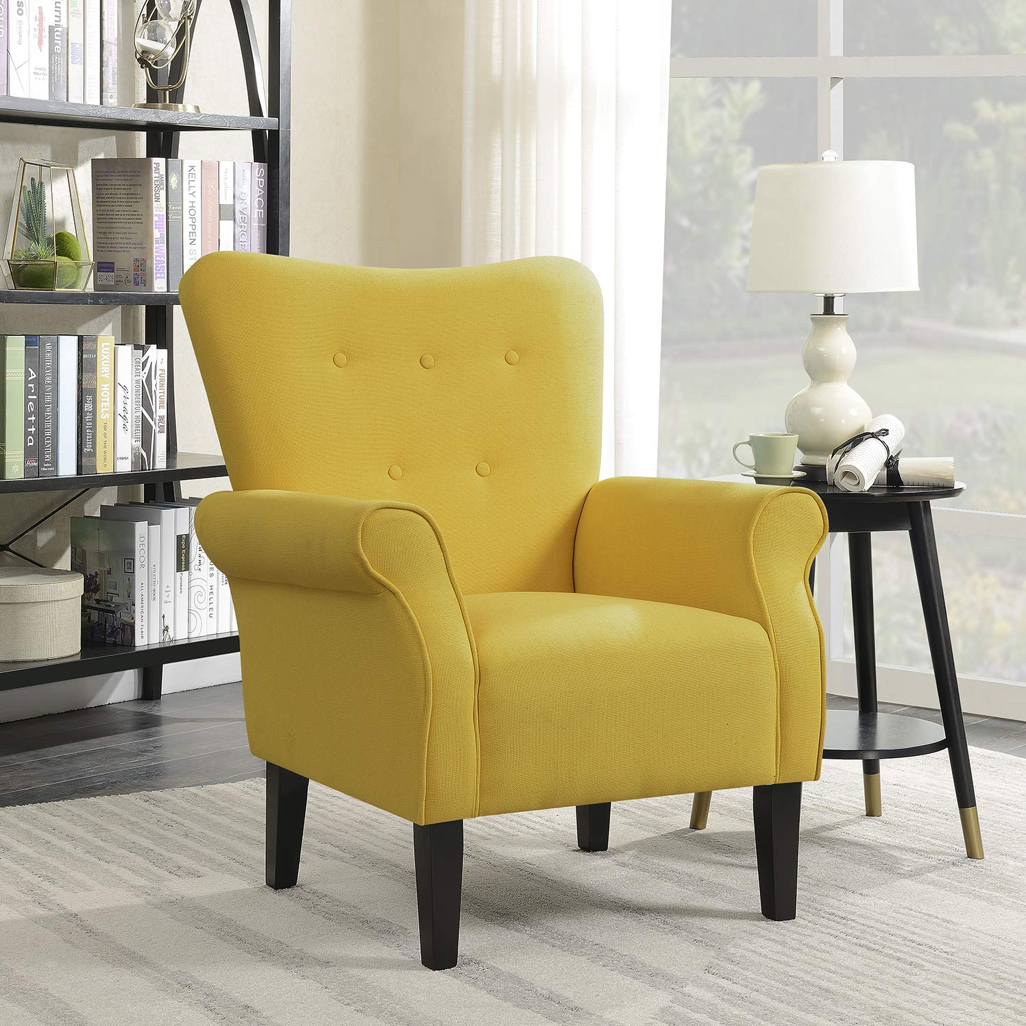 Traveller Location: Belleze Modern Accent Chair Roll Arm Linen Living Room Bedroom  Wood Leg (Citrine Yellow): Kitchen & Dining