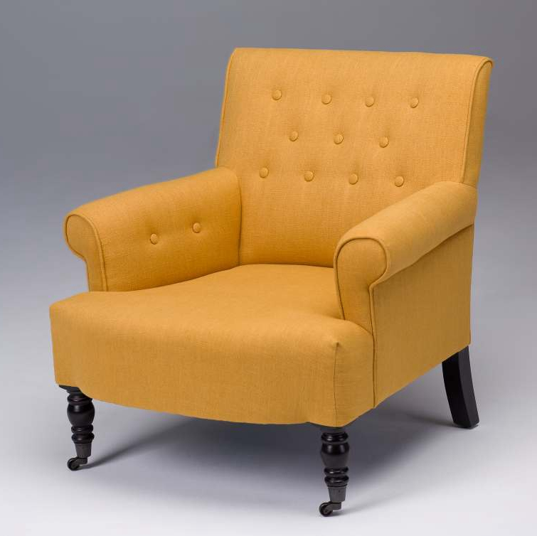 Seriena Madison Tufted Back Linen Accent Chair/Sofa with Coasters in Yellow,  Beige,