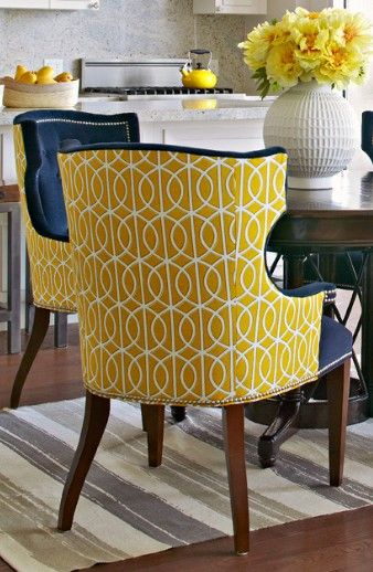 chairs upholstered in two different fabrics can have real pop!