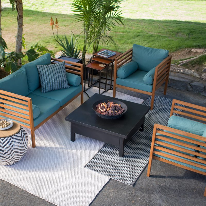 Garden Furniture Trends wood patio furniture with teal cushions CWTYDEZ