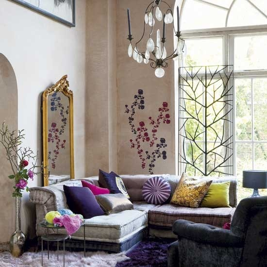 boho style living room inspiring bohemian living room designs. wall decals is an unusual but more  than welcome addition WTYQWNV