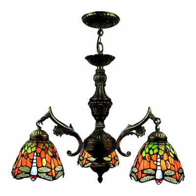 Three-light Country Style 20 Inch Wide Tiffany Chandelier with