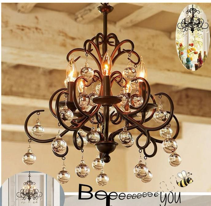 American Country Style Chandelier Restaurant Bar Suitable/Glass
