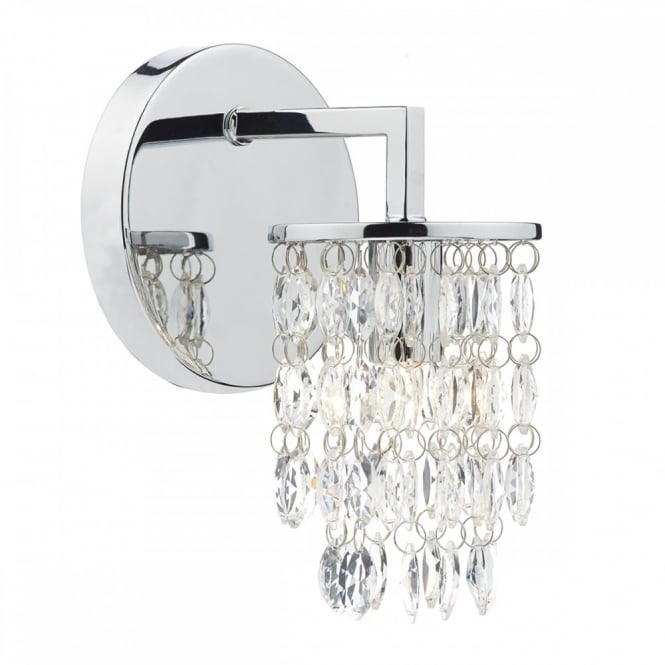 Contemporary Decorative Wall Light in Polished Chrome w/ Crystal Drops