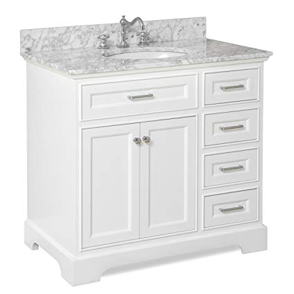 Aria 36-inch Bathroom Vanity (Carrara/White): Includes a White Cabinet