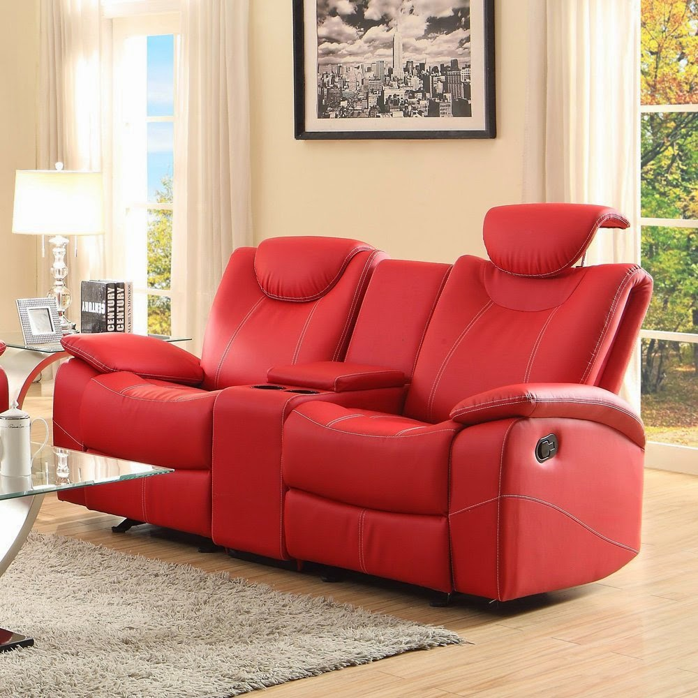 Homelegance Talbot Red Leather Reclining Sofa And Loveseat