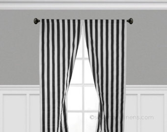 Black and White Stripe Curtain Panels Window Treatments Black Stripe  Curtains Custom Drapery Panels Modern Home Decor Drapes