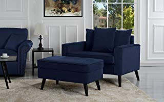 Mid-Century Modern Living Room Large Accent Chair with Footrest/Storage  Ottoman (Navy