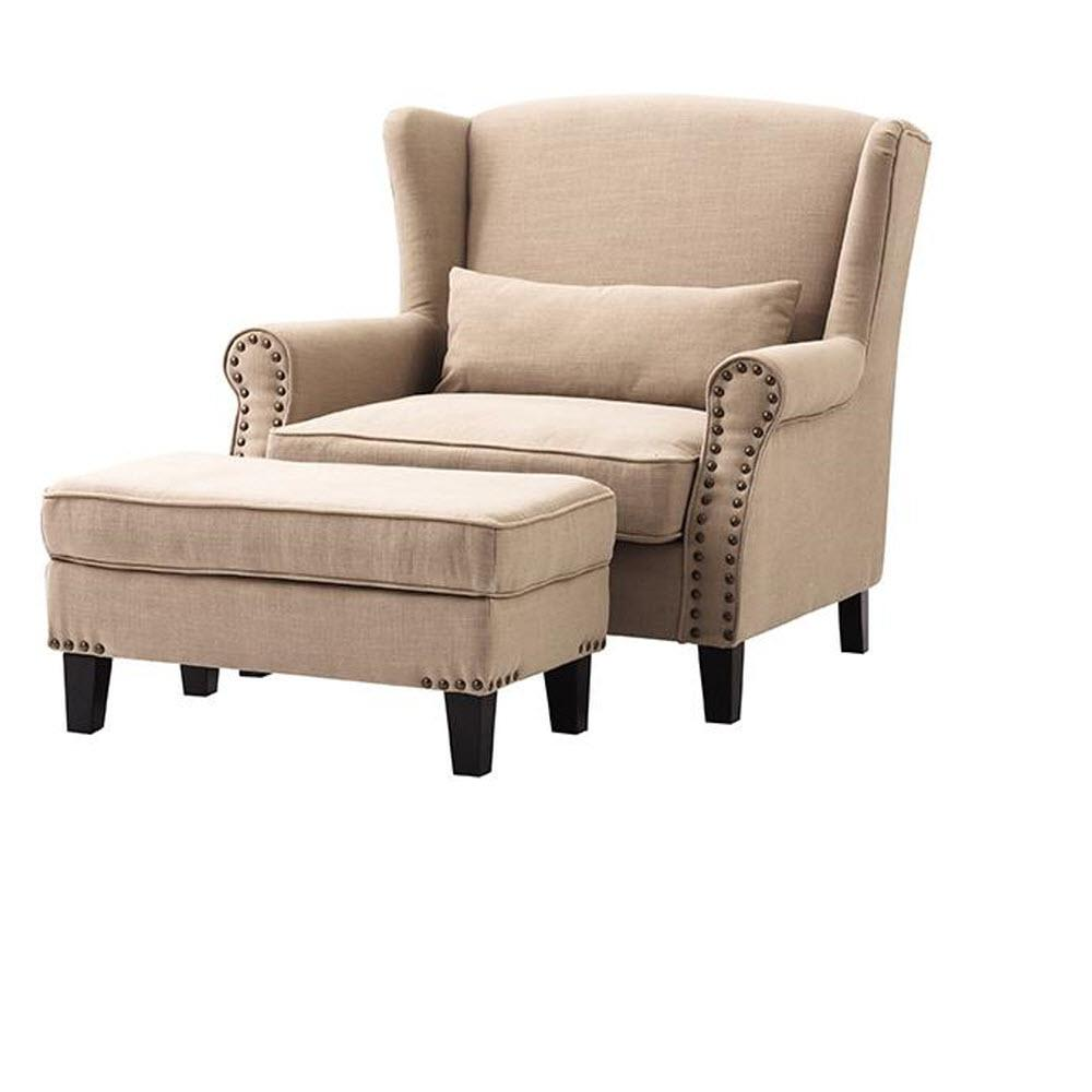 Home Decorators Collection Zoey Dark Beige Linen Arm Chair with Ottoman