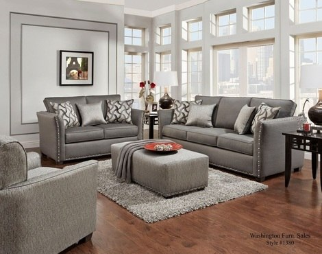 1380CH WASHINGTON 2PC SOFA LOVESEAT SET (CHARCOAL) COLLECTION by
