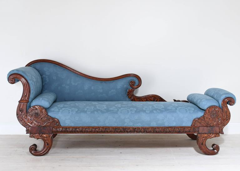 19th Century Empire Recamier or Fainting Couch in Mahogany with