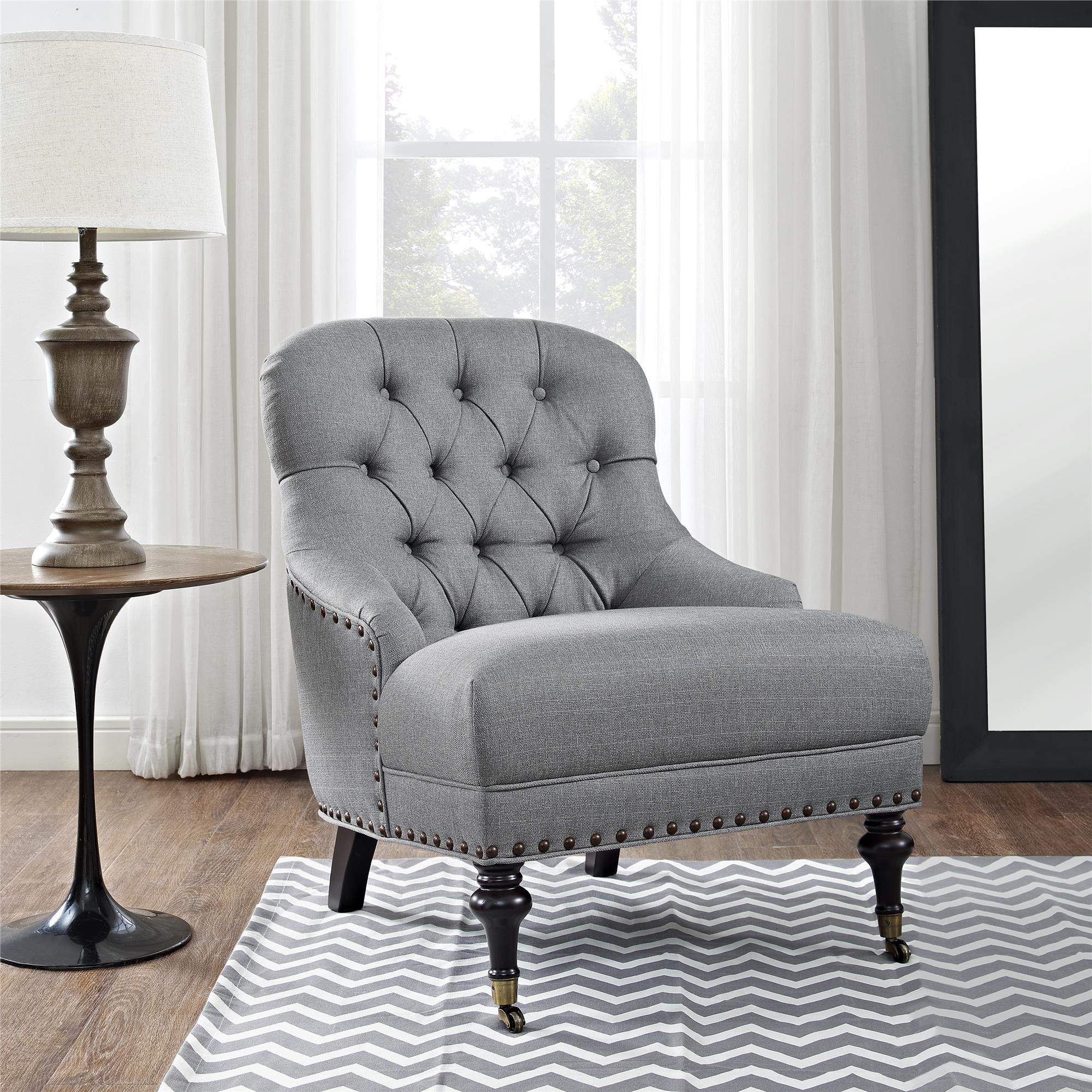 Tufted Accent Chair Traditional Design Living room Top Quality Light Gray  New