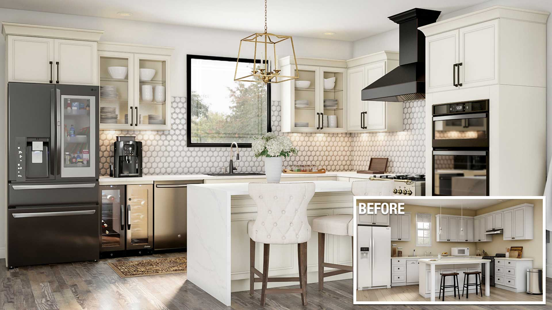 a before and after of an upscale kitchen remodel