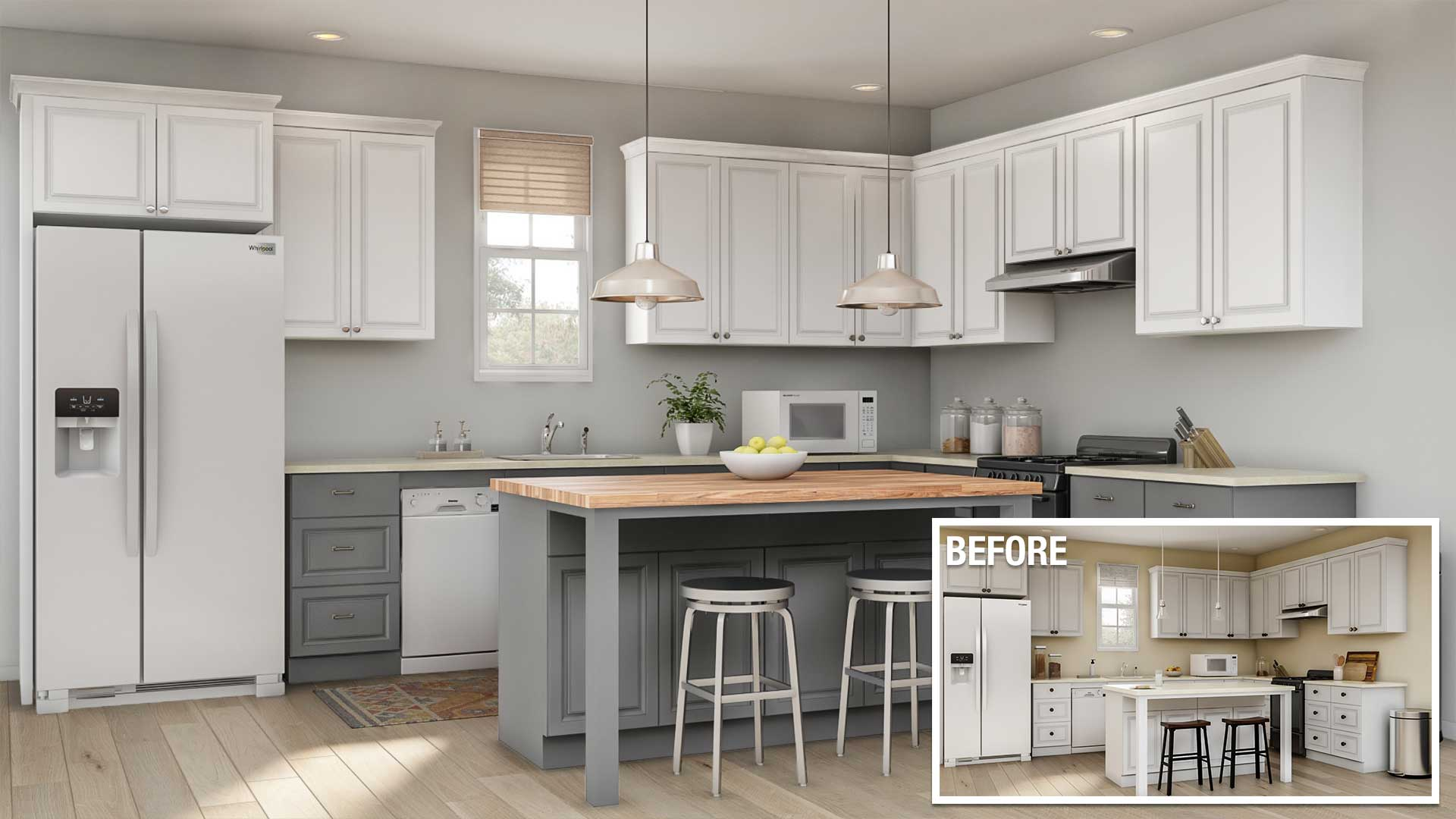 a before and after of a minor kitchen remodel