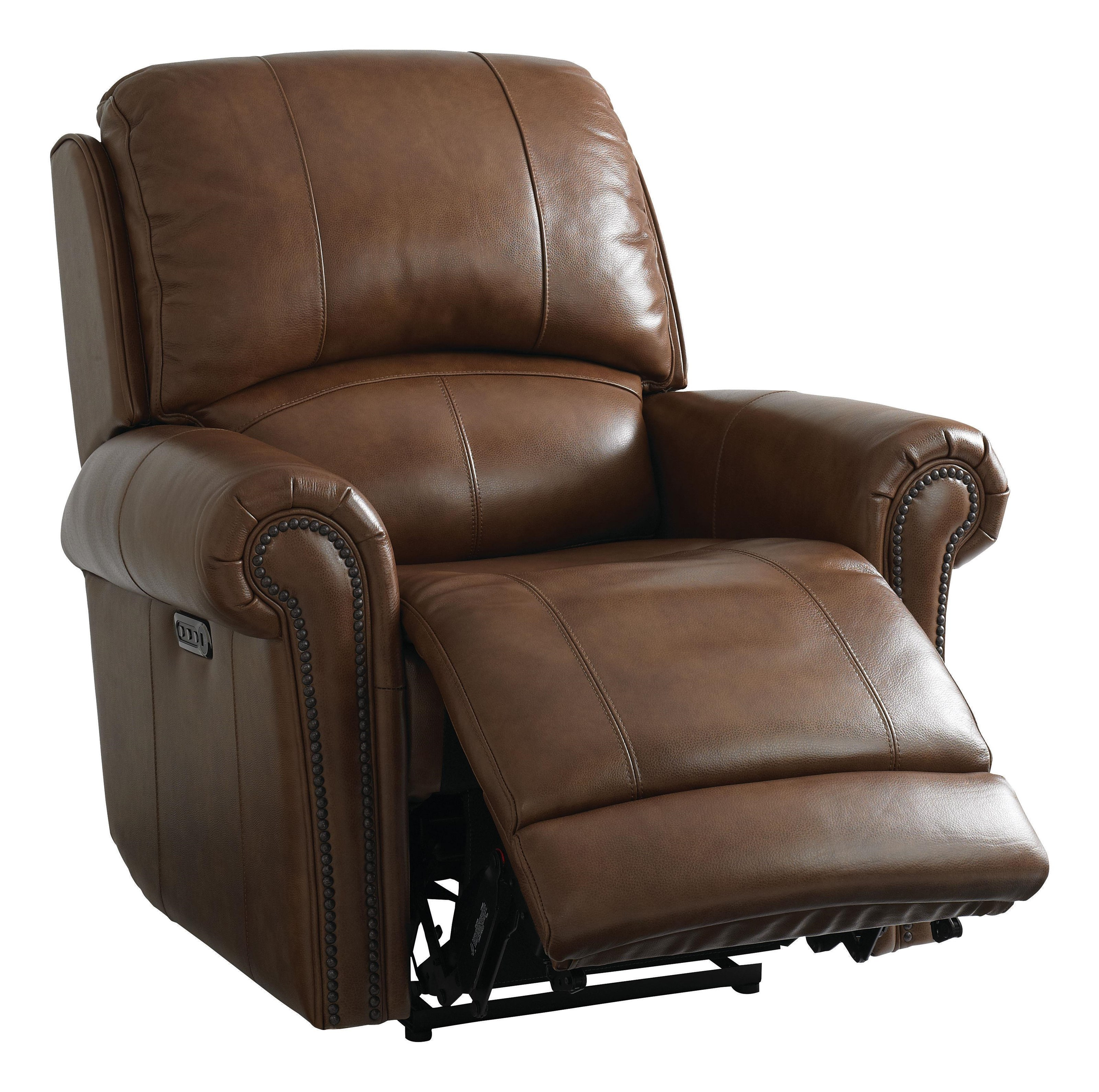 Bassett Club Level Recliner Olsen Power Leather Recliner W/ Head, Foot, &  Lumbar