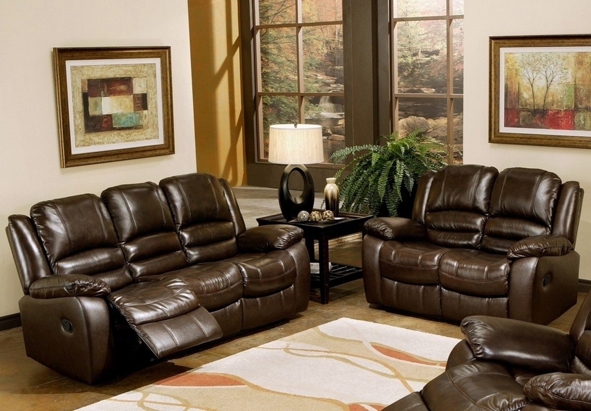 Traveller Location: Abbyson Living Levari Reclining Leather Sofa And Loveseat:  Kitchen & Dining