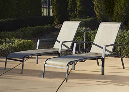 Cosco Outdoor Chaise Lounge Chair, Adjustable, 2 Pack, Dark Brown