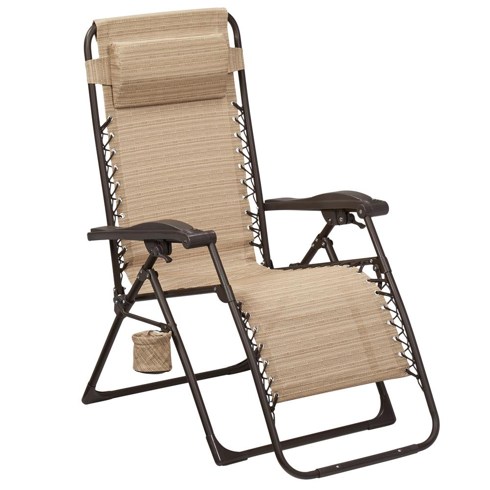 Hampton Bay Mix and Match Zero Gravity Sling Outdoor Chaise Lounge Chair in  Cafe
