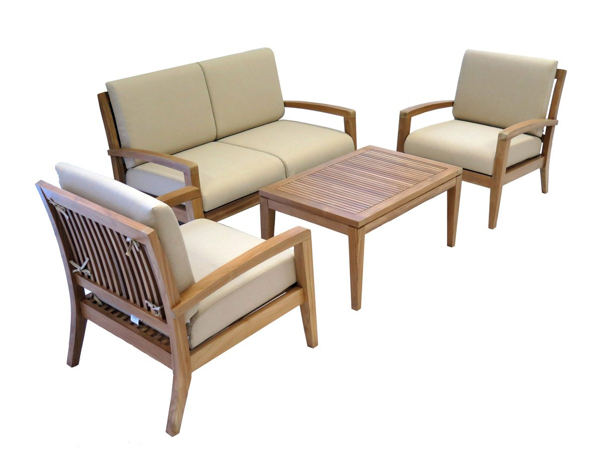 Traveller Location: Ohana Teak Patio Furniture 4-Seater Conversation Set with Beige  Cushions (4-seater-A): Garden & Outdoor