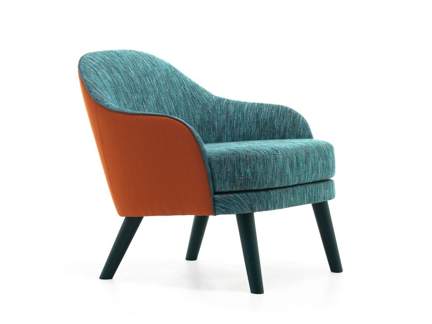 Upholstered fabric armchair with armrests CARMEN 04 by Very Wood